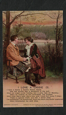 "s72)   WW1 ERA GREETINGS SONG CARD - "" I LOVE A LASSIE "" (3)"