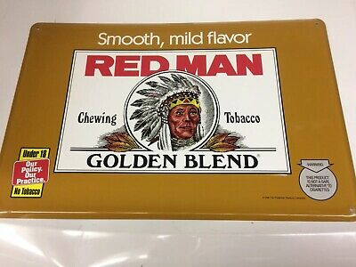 1996 HARD TO FIND  GOLDEN BLEND RED MAN CHEWING TOBACCO Metal Embossed TIN SIGN