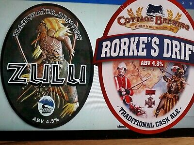 Rorkes Drift Ale Beer Pump Clip Badge Cottage Brewery Zulu War Royal Engineers