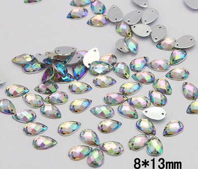 100 x AB Clear Sew on  tear drop Diamante Crystal Gems Rhinestone 8x13mm #9
