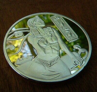 Silver plated Cleopatra collectors coin with Pyramid and Isis reverse 1 oz 29g