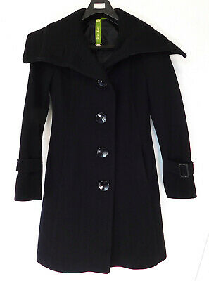 641526bd286d SOIA & KYO Trench Pea Coat Style JACKET Button Front Black Wool Blend  WOMEN'S XS