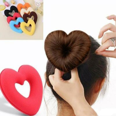 Women Girls Love Heart Shape Sponge Donut Hair Ring Hair Styling Tool Bun Maker