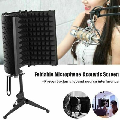 UK Foldable Microphone Isolation Shield Acoustic Foam Mic Sound Absorber Screen