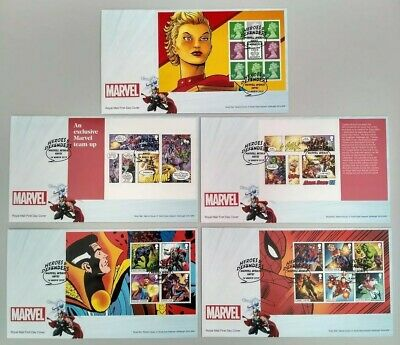 2019 Marvel PSB Stamp Booklet Panes over 5 THOR FDC Marvel Ave Hayes postmark
