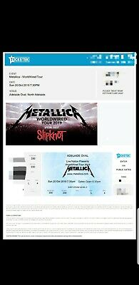 Metallica 2x Adelaide A reserved tickets Sunday 20th October 2019