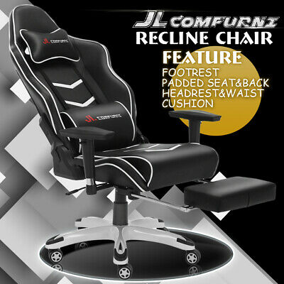 JL Comfurni Racing Gaming Office Chair Footrest Swivel Lift Recliner Large Size