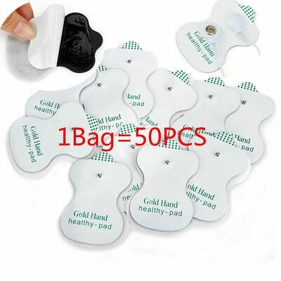 50pcs Snap On Replacement Electrode Pads Cable For Tens Unit Therapy Massager