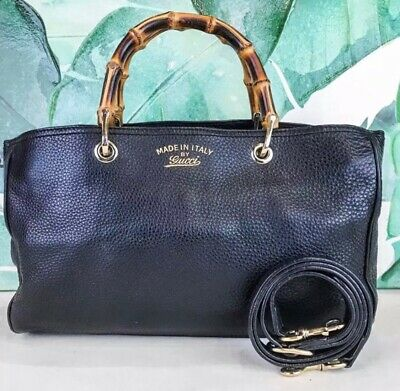 12aefc8706f GUCCI SHOPPER TOTE Black Leather Shoulder Bag Bsmboo Handles ...