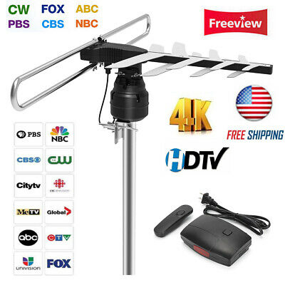 Outdoor HDTV Antenna 360°Remote Control VHF UHF Infrared 1080P Digital Amplified