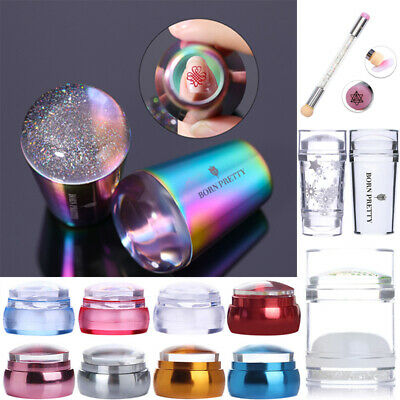 BORN PRETTY Transparent Nail Stamper Holographic Rainbow Handle Nail Art Tools