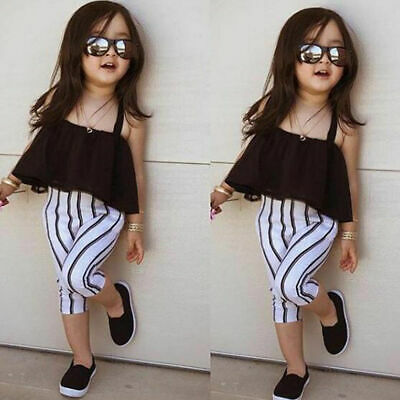 Toddler Girls Summer Strap Tops+Casual Striped Pants 2pcs Outfits Set Clothes