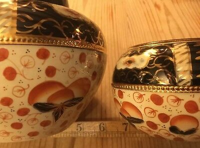 2x BOWLS C1910 HAND PAINTED WELSH GAUDY IMARI POTTERY ROYAL STANLEY WARE ANTIQUE