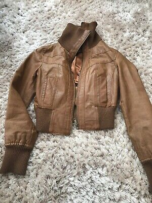 New Look Leather Bomber Jacket Size 12 Tan Brown Colour