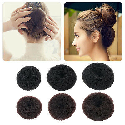 Women Girls Sponge Hair Bun Maker Ring Donut Shape Hairband Styler Tool WQ