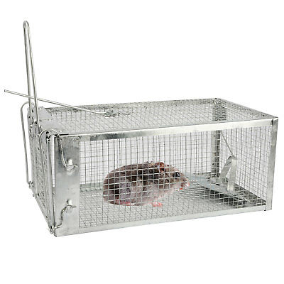 Metal Rat Catcher Spring Cage Trap Humane Large Animal Rodent Indoor Outdoor UK