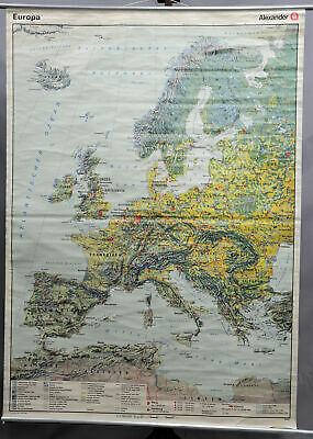 vintage poster rollable wall chart geography map Europe landscape