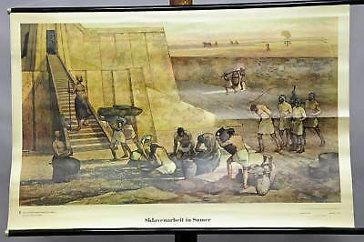 vintage picture poster historical wall chart, living room, slave labour, Sumer