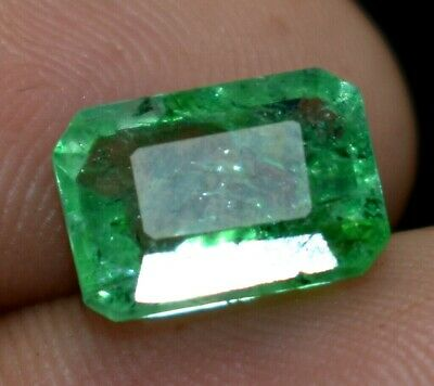3.05 Ct Natural Green Muzo Colombian Emerald GIE Certified Emerald Cut Loose Gem