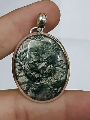 GREEN MOSS AGATE OVAL 925 Sterling Silver Pendant 1.8'' FREE SHIPPING