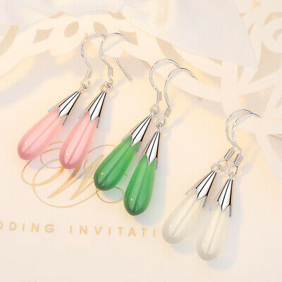 Woman A Pair Teardrop Green Jade 925 Silver Dangle Hook Fashion Earrings