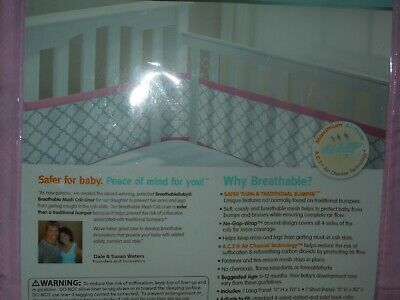 Breathable Crib Bumper Pink and White Mesh Crib Liner for Standard Baby Crib H2