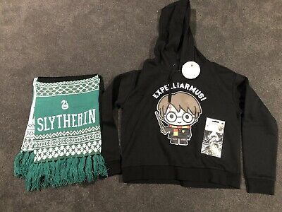 Harry Potter Hoodie Adult Size Small + Slytherin Scarf + Key Ring BNWT RRP $65