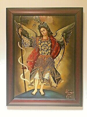 St. Michael Archangel Peruvian Cuzco Art Handmade Oil Canvas Religious Painting