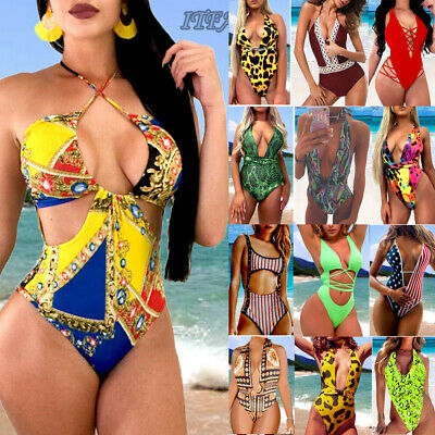 Womens One-Piece Swimsuit Bandage Bikini Push-up Padded Bra Bathing Swimwear USA