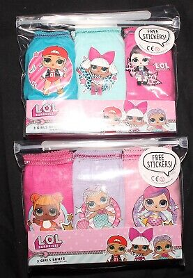 Girls LOL SURPRISE Briefs/Knickers x 6 Pairs with FREE Stickers - 4-10 Years