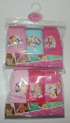 Girls DISNEY PRINCESSES 100% Cotton Briefs/Knickers x 6 Pairs - 2-6 Years