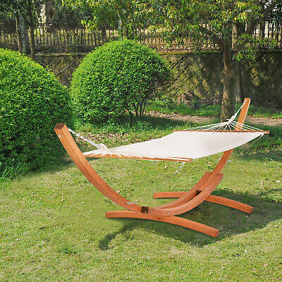Outsunny Garden Wooden Frame Hammock Arc Stand Sun Swing Bed Lounger