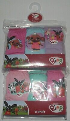 Girls BING BUNNY 100% Cotton Briefs/Knickers x 6 Pairs - 18 Months-5 Years