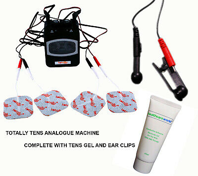 TENS Analogue Machine For Pain Relief Complete With Pair Ear Clips and Tens Gel