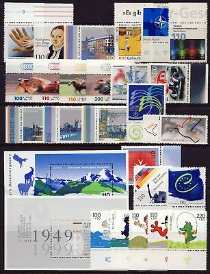 GERMANY . 1999 Commemorative Year Set (47 stamps, 5 sheets) . Mint Never Hinged