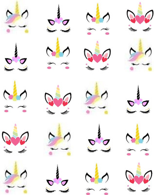 Unicorn Faces  Waterslide Nail Decals/Nail art