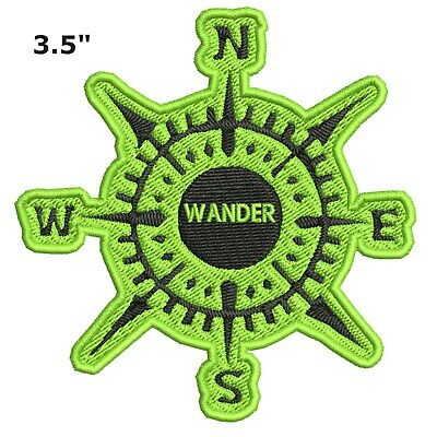 Compass - WANDER Embroidered Patch Iron-On Souvenir Travel Nature National Parks