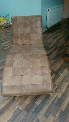 Used brown leather sofa chaislong