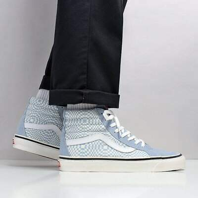 Vans Men's New SK8-Hi 38 DX Suede Canvas Shoes Light Blue Warp Checkerboard