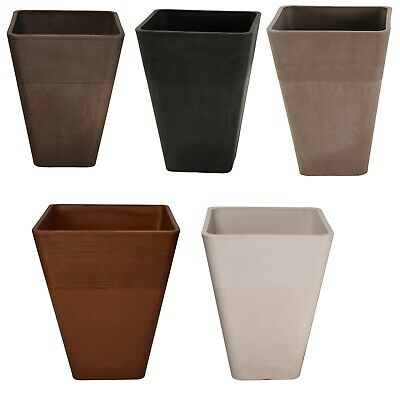 Large Strong Tall Planter Square Plastic Garden Flower Plant Herb Pot Colour New
