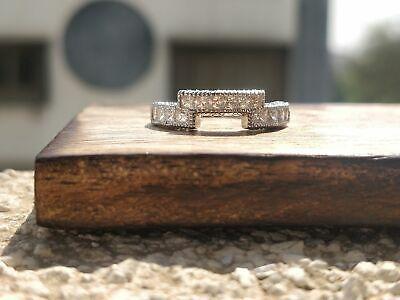 1Ct Diamond Stackable Wedding Engagement Band/Ring Real Solid 14K White Gold Ed