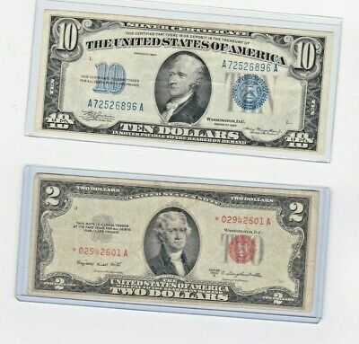 1953B $2 Red Seal **STAR **note & 1934 $10 Silver Certificate note lot of 1 ea