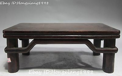 """14"""" Chinese Ancient palace ebony Wood Carving tea-leaves desk table Statue"""
