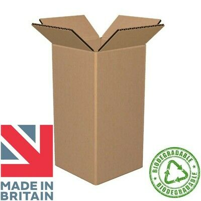 """Cardboard Box 4X4X8"""" Postage Packaging Mail Small Parcel Gift Uk Single Wall"""