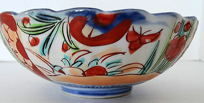 Antique  Hand Painted Japanese IMARI PORCELAIN SCALLOPED EDGE FOOTED BOWL