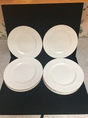 11 Royal Albert White Gold Trim Val D'Or China Dinner Plates England (Z45)