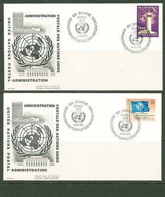 UN -Geneva 1969: #1-5,8,11,13 on 8 OFFICIAL UA Cachet FDCs - Lot#3/19