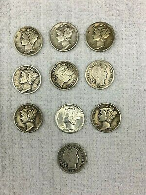Lot Of Ten Dimes Mercury And Barber Some With Mint Marks