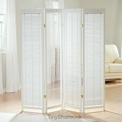 4 Panel Room Divider Screen Privacy Panels Wood Shutters Folding Freestanding WH