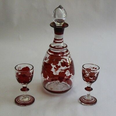 Vintage Hand Blown Hand Painted Glass Red Clear Decanter and Two Cordials